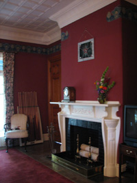 One of the 3 fireplaces at The ELMS